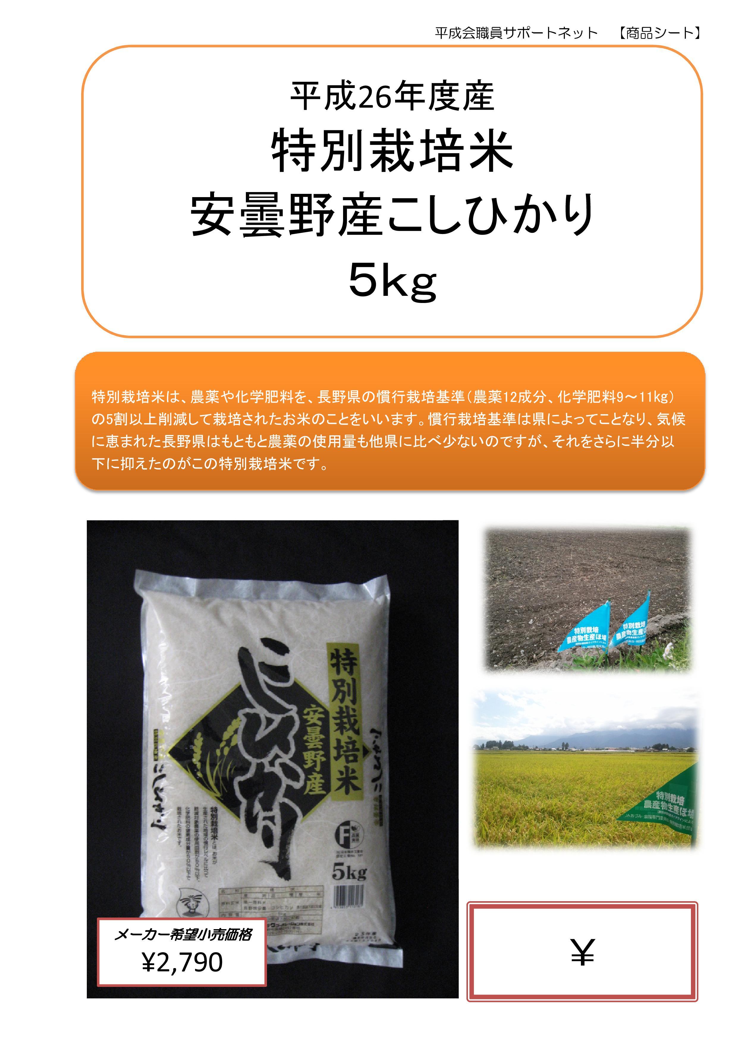 特別栽培米 安曇野産こしひかり